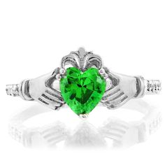 14k White Gold Green Heart CZ May Birthstone Claddagh Ring with Natural Diamonds -- For more information, visit now : Jewelry Ring Statement
