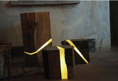 Marco Stefanelli's Salvaged Wood Brecce Lamps are Embedded Wit...