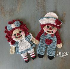 Cute Crochet, Crochet Toys, Crochet Baby, Crochet Applique Patterns Free, Crochet Motif, Crochet Appliques, Raggedy Ann, Gift Maker, Vintage Friends