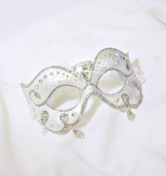 CUSTOM Masquerade Ball Mask White and by BejeweledMasquerade