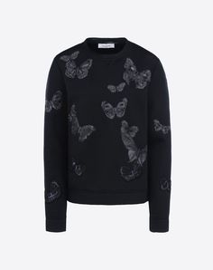 "VALENTINO Crew neck sweatshirt in modal with embroidered butterflies. - Multicolored embroidered butterflies. - Length 23"". - Jersey (100% Modal). - Regular fit. - The model is 5'9"" tall and wears an Italian size S. - Made in Italy. 39600320pv"