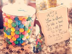 Love the sweets table idea.. what a cute saying! #wedding candy #candy table