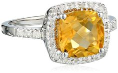 Sterling Silver Cushion Citrine Diamond Ring (0.14 cttw, I-J Color, I2-I3 Clarity), Size 7