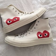 Comme des garçon play converse Brand new never worn they are a half size too big for me! Size 7 men's which is a size 9 woman's in Converse. Comme des Garcons Shoes Sneakers