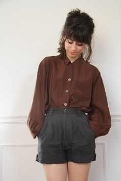 Casual hair shirt/blouse shorts but better with tights, Looks like Autumn to me