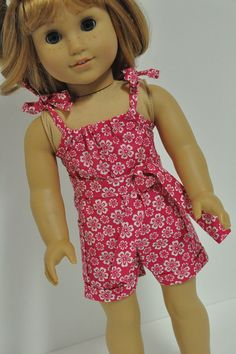 American Girl Doll Clothes Bright Pink with White by CircleCSewing, $12.00