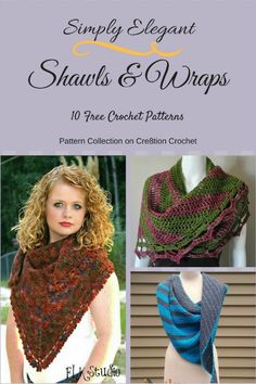 Simply Elegant Shawls and Wraps 10 Free Crochet Patterns. Collection compiled by Cre8tion Crochet. Learn how Lorene uses her Lilla Rose Flexi Hair Clips as amazing shawl pins for these lovely wraps.