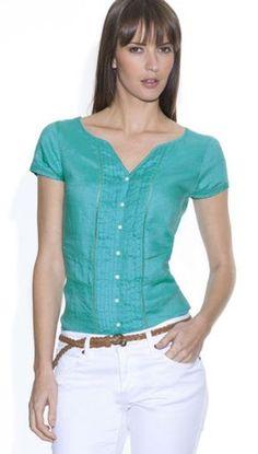 Blusa en lino verde turqueza