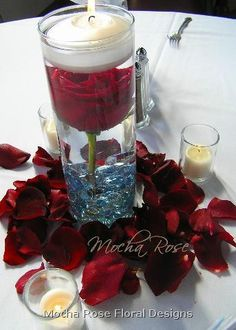 Reception, Flowers & Decor, Centerpieces, Candles, Flowers, Submerged, Stones, Vase glass, Flower rose, Color red, Vase cylinder, Vendor mocha rose