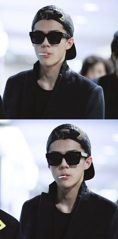 First reaction: omg, is sehun smoking? After 5secs: its a lollipop..😌