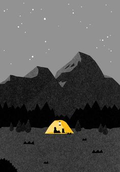 Illustration, Poster, Grafik - My best design list Art And Illustration, Illustrations And Posters, Mountain Illustration, Posca Art, Art Graphique, Mellow Yellow, Yellow Art, Bright Yellow, Grafik Design