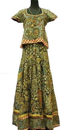 Hand Painted Kalamkari Product, India: Silk skirt, choli and chiffon shawl that are hand painted and hand embroidered with the kalamkari method. The International 2012 Panel of Experts commended finely executed hand painting on silk, and the rich yet elegant combination of natural dyes on these traditional garments which can be worn with modern clothes.
