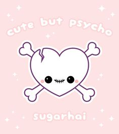 Pastel pink heart shaped skull and crossbones by sugarhai. Cute but Psycho.