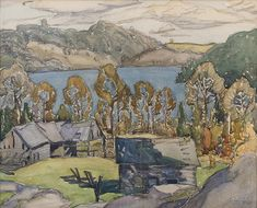 """Old Barns, Miner's Bay,"" Franklin Carmichael, watercolor, 10 x private collection. Space Gallery, Art Gallery, Franklin Carmichael, Tom Thomson, Group Of Seven, Canadian Art, Old Barns, Art Auction, Light And Shadow"