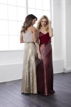 Christina Wu Celebrations Bridesmaid Dress - wo-piece chiffon top and sequin bottom gown. The top has a shallow v-neck with spaghetti straps and the skirt has a zipper. Pictured in: Taupe/Bronze, Claret/Claret. Two Piece Bridesmaid Dresses, Bridal Dresses, Burgundy Lace Bridesmaid Dresses, Bridesmaid Skirts, Bridesmaid Ideas, Sparkly Bridesmaids, Christina Wu, Essense Of Australia, Wedding Attire
