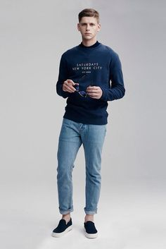 Saturdays Surf NYC, navy sweatshirt, light blue jeans, navy sneakers