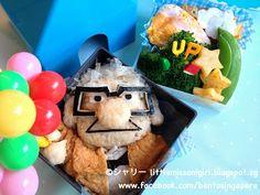 UP Animated Film Bento (Carl Fredricksen) Kawaii Bento, Cute Bento, Bento Recipes, Bento Ideas, Japanese Lunch Box, Japanese Food, Up Animation, Decadent Food, Sushi Art