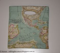 Bolso reversible con tela plastificada de mapamundi y de loneta de buhos