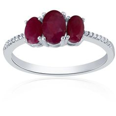Belk  Co. Ruby Oval Diamond And Ruby Ring In Sterling Silver ($245) ❤ liked on Polyvore featuring jewelry, rings, ruby, ruby diamond ring, ruby jewelry, diamond rings, sterling silver rings and enhancer ring