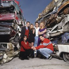 """You know what says true friendship? Junk cars. 27 Rare Photos Of The Cast Of """"Friends"""" that will make you WOW ! cast of friends after the show , cast of friends now , cast of friends reunion , cast of friends then and now , Chandler Bing , Courteney Cox , David Schwimmer , f.r.i.e.n.d.s , friends cast , friends cast in real life , friends cast life , friends cast outdoor , friends cast photos , friends cast real photo , friends cast together , friends chandler , friends images , friends…"""