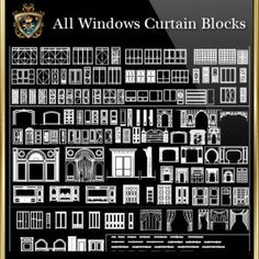 Windows Curtain Blocks Collection (All in one! Amazing Architecture, Architecture Details, Landscape Architecture, Autocad, Subway Tile Fireplace, Steel Doors And Windows, Cad Library, Paving Design, Concrete Footings