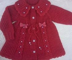 This Pin was discovered by Нат Baby Boy Knitting Patterns, Baby Sweater Patterns, Baby Cardigan Knitting Pattern, Knitted Baby Cardigan, Knitting Dolls Clothes, Knitted Baby Clothes, Knit Baby Dress, Baby Girl Sweaters, Baby Coat