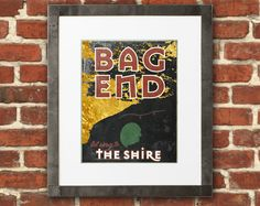 8 x 10 Bag End LOTR Travel Poster - Tolkien inspired from the Lord of the RIngs and the Hobbit