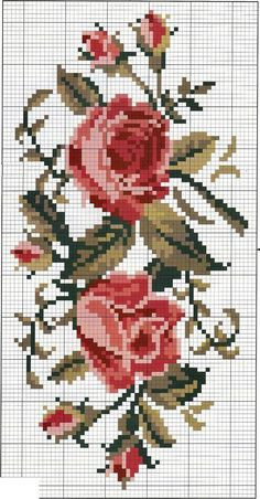This Pin was discovered by Сне Simple Cross Stitch, Cross Stitch Rose, Cross Stitch Borders, Cross Stitch Flowers, Cross Stitch Charts, Cross Stitch Designs, Cross Stitching, Cross Stitch Embroidery, Cross Stitch Patterns