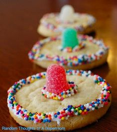 sombrero cookies: made from sugar cookies, frosting, sprinkles, and gumdrops