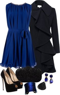 Holiday Party.......love that flowy royal blue dress and adorable very fashionable coat!
