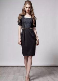Black & Grey Print Modest Dress