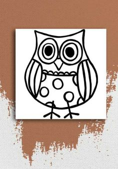 """Small Owl, from the Paint-A-Doodle, Original Collection KIT INCLUDES: 1 Gallery Wrapped Canvas (12""""x12""""), 7 Acrylic Paints (Washable & Non-Toxic), 2 Paintbrushes (Various Sizes) and is available at www.paintadoodle.com"""