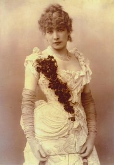 """Sarah Bernhardt c. 1885 - One day I was just staring at my bathroom wondering, """"What am I going to do with this garish scheme?"""" and I honestly had this mental image of the divine Sarah leaning over the counter, looking into the large mirror doing her makeup... and I seriously thought, """"Yep - she'd feel right at home in here..."""" That kind of sparked my idea of going with an Art Nouveau theme... :)"""