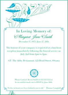 39 Best Funeral Reception Invitations Reception invitations and