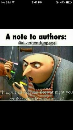 HAhahahahahaha😂😂😂😂😂😂 I so almost wrote the author of Divergent and hunger games! Book Nerd Problems, Fangirl Problems, Book Memes, Book Quotes, Writer Memes, Percy Jackson, Funny Relatable Memes, Funny Jokes, Hilarious
