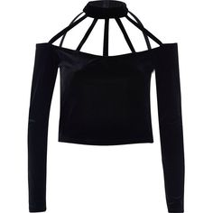 River Island Black velvet choker crop top (2,300 INR) ❤ liked on Polyvore featuring tops, black, spaghetti-strap top, long sleeve velvet top, fitted tops, strap crop top and cropped tops