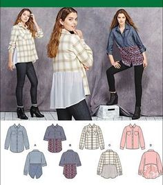 Sewing Blouse Simplicity Patterns - Simplicity Misses' Shirt With Fabric Variations - 6 - 8 - 10 - 12 - 1 - Diy Clothing, Sewing Clothes, Moda Casual, Shirt Refashion, Simplicity Sewing Patterns, Diy Fashion, Sewing Projects, Sewing Crafts, Shirts