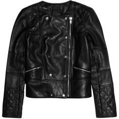 J.Crew Collection quilted leather biker jacket ($625) ❤ liked on Polyvore featuring outerwear, jackets, black, quilted leather jacket, asymmetrical zipper jacket, quilted jacket, moto jackets and rider jacket