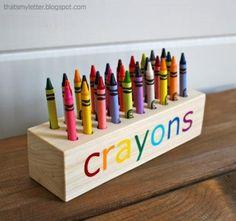 Easy Scrap Wood Crayon or Pencil Block Holder #DIY #TUTORIAL