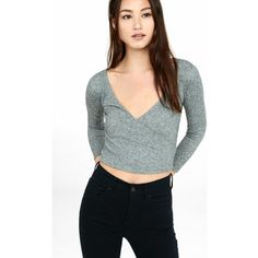 Express Plush Ribbed Express One Eleven Surplice T-shirt ($25) ❤ liked on Polyvore featuring tops, t-shirts, grey, 3/4 length sleeve t shirts, express tees, grey tee, deep v neck tee and gray tee