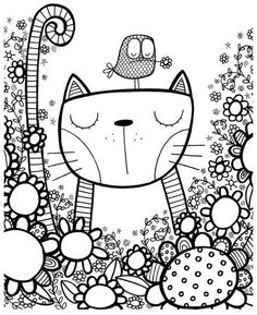 cool whimsical pen and ink zentangle style cat and bird illustration Doodle Art, Doodle Drawings, Bird Doodle, Doodle Kids, Doodle Pages, Doodle Flowers, Coloring Book Pages, Coloring Sheets, Vogel Illustration