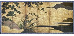Landscape with flowering vines. Japanese folding Screen (six-panel). Momoyama or Edo period, early 17th century. Freer.