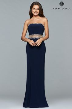 This unique sheath dress features a strapless straight across neckline ·  Navy Blue Prom DressesHomecoming ... c3ef49cde09a