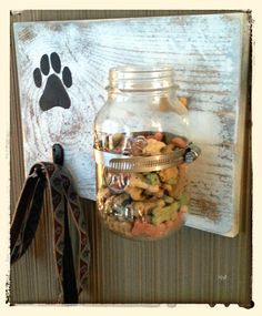 Distressed dog treat jar and leash holder by BrandNewToMe on Etsy, $35.00