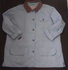 LL Bean Barn Coat Chore Jacket Womens 2X Light Blue Cotton Canvas Corduroy Plaid #LLBean #BasicJacket #Casual