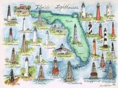 Florida lighthouses- I've been to a few of them. Vintage Florida, Old Florida, Florida Travel, Costa, Lighthouse Pictures, Florida Girl, Vacation Spots, Kayaking, Art Gallery