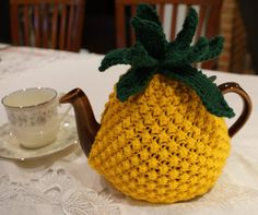 Knitted pineapple tea cosy
