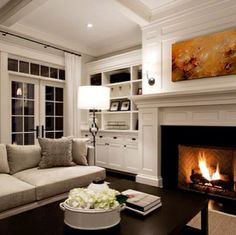 Neutral living room, fireplace