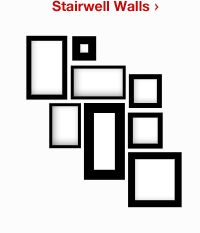 Layout for picture frames on a stairwell wall