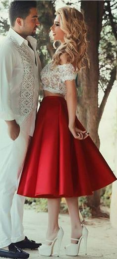 Real Beauty Two Pieces Off Shoulder Short Prom Dresses,Lace Homecoming Dresses,Red Graduation Dresses,Open Back Cocktail Dresses